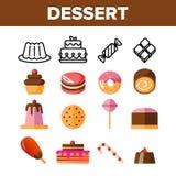 Efterrätter bakelse, uppsättning för symboler för sötsakvektorfärg stock illustrationer