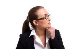 eftertänksam profil för affärskvinnaexponeringsglas Arkivbilder