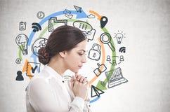 Eftertänksam ung affärskvinna, datorsymboler royaltyfri bild