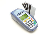 EFTPOS Machine with credit cards Stock Photos