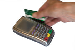 Eftpos terminal. Processing an electronic card transaction Royalty Free Stock Photo