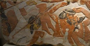 Egípcio antigo gelo pintado da pedra do relevo Fotos de Stock Royalty Free