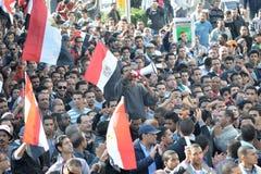 Egípcios que demonstram de encontro ao regime militar fotografia de stock