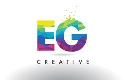 EG. Vector del diseño de los triángulos de la papiroflexia de E.G. Colorful Letter Foto de archivo