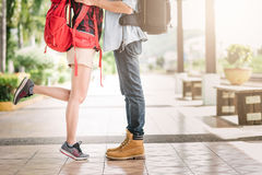 Eg of young couple traveler kissing outdoor Royalty Free Stock Photography