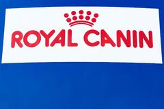 Royal Canin logo on a panel Royalty Free Stock Images