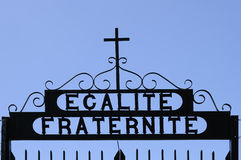 Egalite' fraternite' and cross sign Royalty Free Stock Images