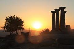 Egeïsch gebied - Assos-Kasteel, zonsondergang bij Tempel van Athena, Stock Foto's