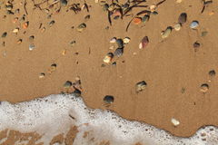 Egeïsch gebied, strand, vrede en golven Stock Foto