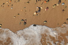 Egeïsch gebied, strand, vrede en golven stock foto's