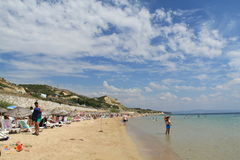 Egeïsch gebied - Tenedos-eiland, Ayazma-strand royalty-vrije stock foto's