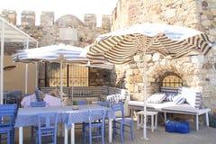 Egeïsch gebied - Tenedos-eiland, Bozcaada-Kasteel en koffie Royalty-vrije Stock Foto's