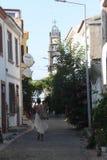 Egeïsch gebied - Tenedos-eiland, kunst, bij de winkels, huizen Stock Afbeeldingen