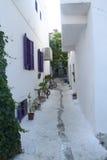 Egeïsch gebied - Tenedos-eiland, kunst, bij de winkels, huizen stock foto