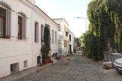 Egeïsch gebied - Tenedos-eiland, kunst, bij de winkels, huizen royalty-vrije stock afbeeldingen