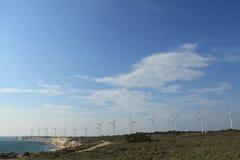 Egeïsch gebied - Tenedos-eiland, windturbines Stock Afbeelding