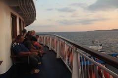 Egeïsch gebied - Tenedos-eiland, zonsondergang van veerboot Royalty-vrije Stock Foto