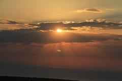 Egeïsch gebied - zonsondergang bij het Egeïsche overzees stock afbeelding