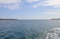 Egeïsch Overzees landschap dichtbij Thassos-eiland in Griekenland royalty-vrije stock foto's