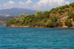 Egeïsche kust Stock Foto