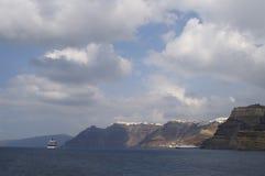 Egeïsche overzees, eiland Santorini Royalty-vrije Stock Afbeeldingen