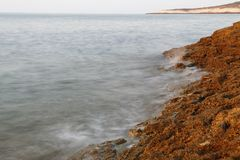 Egejski brzeg w Grecja, Thassos wyspie, - fala i skały Zdjęcie Royalty Free