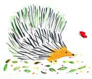 Egel en vlinder Royalty-vrije Stock Foto's
