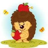 Egel met appelen royalty-vrije illustratie