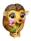 Egel met bloem stock afbeeldingen