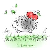 Egel met harttekening stock afbeelding