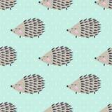 Egel naadloos patroon op stippenachtergrond Leuke beeldverhaal dierlijke achtergrond Royalty-vrije Stock Afbeelding