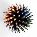 Egel van gekleurde potloden wordt gemaakt dat stock afbeelding