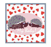 Egels in liefde Kleurende die boekillustratie op wit wordt geïsoleerd royalty-vrije illustratie