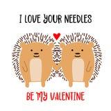 Egelspaar in liefde Vector illustratie gestileerd groen hart royalty-vrije illustratie