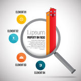 Egenskapsfokus Infographic Fotografering för Bildbyråer