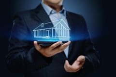 Egenskapsledning Real Estate intecknar hyraköpbegrepp royaltyfria bilder