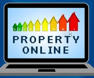 Egenskapsonline-föreställande Real Estate 3d illustration Stock Illustrationer