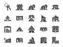 Egenskapssymbolsuppsättning Inklusive symboler som hotell, hus, hem, semesterort, stad, boenden, lopp och mer Arkivbilder