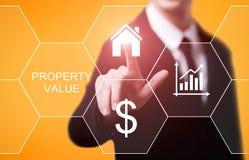 Egenskapsvärde Real Estate marknadsför begrepp för internetaffärsteknologi royaltyfria foton