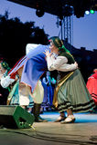 EGER - 18 DE AGOSTO: Danza popular polaca tradicional. Imágenes de archivo libres de regalías