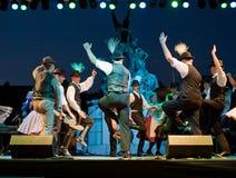 EGER - 8月18日: 传统匈牙利民间舞 免版税库存照片