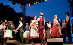 EGER - AUGUST 18: Traditional Hungarian folk dance Stock Image