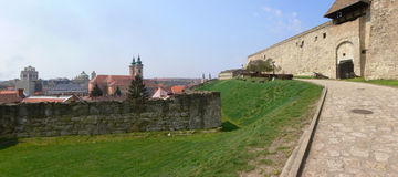 Eger castle panorama 2. Cannon protect the heroic castle, the scene of the 1552 Hungarian-Turkish battle today Stock Images