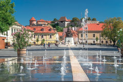 Eger Hungary, Dobo Square. Eger Hungary, one of the largest cities in Hungary. It`s famous for producing wine royalty free stock photos