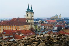 Eger, Hungary. The medieval town of Eger, Hungary, taken from the ramparts of the Eger fort Stock Image