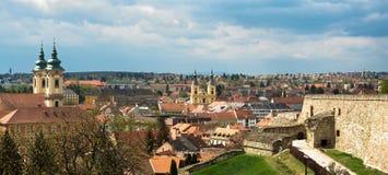 Eger miasta panoramiczny widok obrazy stock
