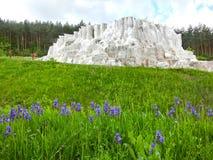 Egerszalok,匈牙利- 2017年5月05日:在Saliris手段的盐小山 免版税库存照片