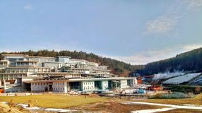 Egerszalok / Hungary - February 11 2012: Egerszalok thermal spring stock image