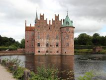 Egeskov Castle Denmark Europe with Cloudy Sky Royalty Free Stock Images