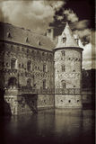 Egeskov Castle, Funen, Denmark. Vintage look. Egeskov Castle, located in the south of the island of Funen, Denmark. Vintage look Stock Image